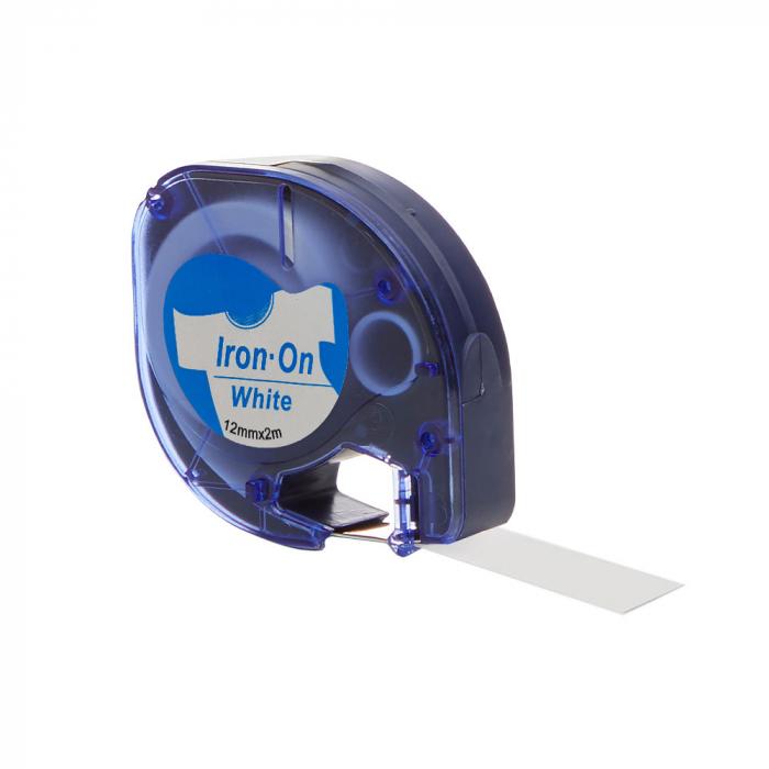 Etichete haine compatibile Dymo LetraTag Iron-On 12mmx2m, albastru pe alb, 18773 DYA18773-big