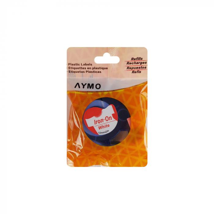 Etichete haine compatibile Dymo LetraTag Iron-On 12mmx2m, rosu pe alb, 18777 DYA18777-big