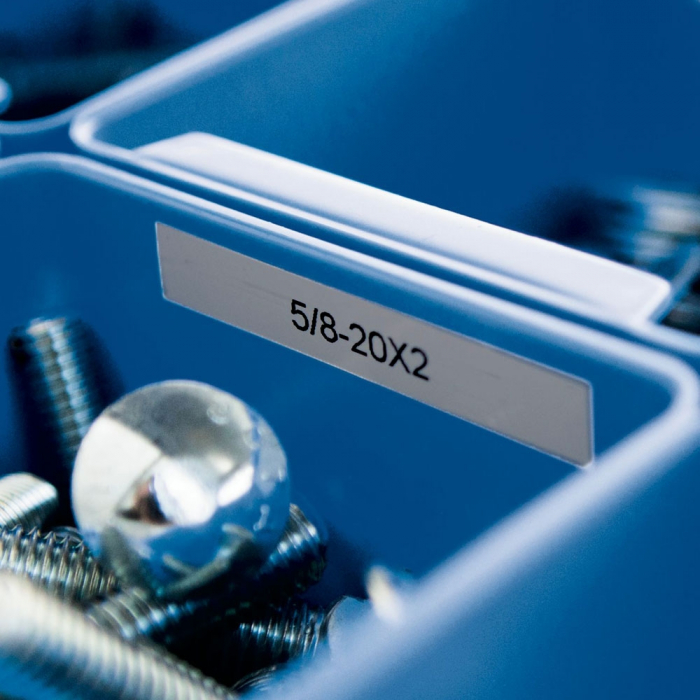 Etichete industriale autocolante compatibile, DYMO ID1, poliester permanent, 12mm x 5.5m, negru/argintiu, 18486-big