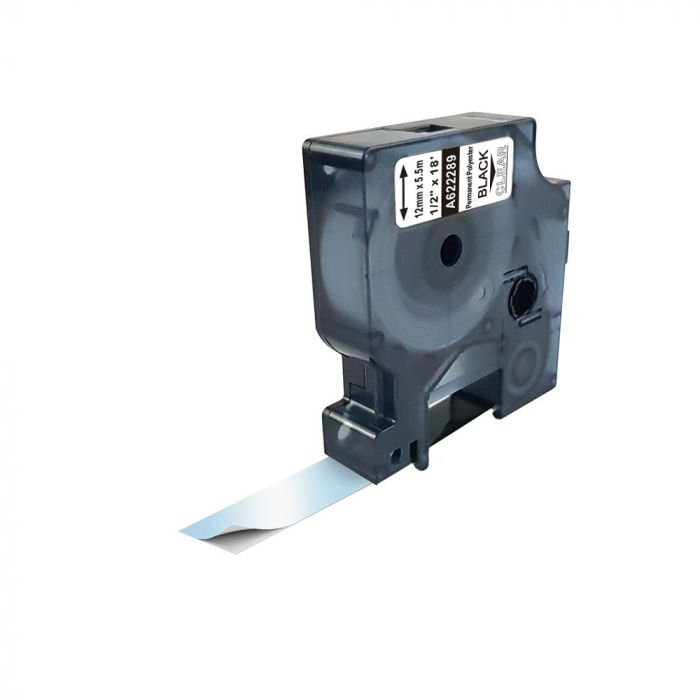 Etichete industriale autocolante compatibile, DYMO ID1, poliester permanent, 12mm x 5.5m, negru/transparent, 622289-big
