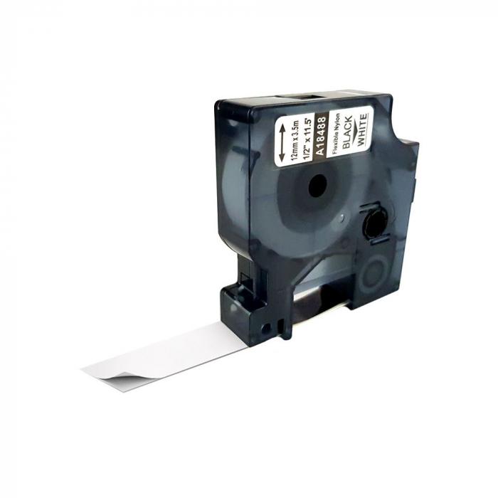 Etichete industriale autocolante compatibile nailon flexibil, 12mm x 3.5m, negru/alb, 18488 S0718100-C-big
