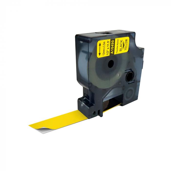 Etichete industriale autocolante compatibile nailon flexibil, 12mm x 3.5m, negru/galben, 18490 18490-C-big