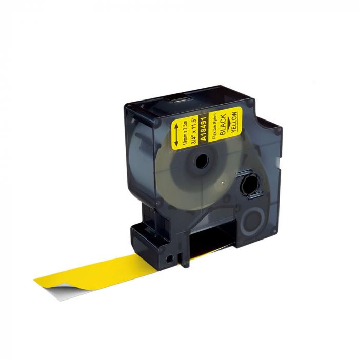 Etichete industriale autocolante compatibile nailon flexibil, 19mm x 3.5m, negru/galben, 18491 18491-C-big