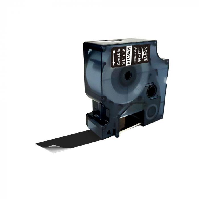 Etichete industriale autocolante compatibile vinil, 12mm x 5.5m, alb/negru, 1805435-big