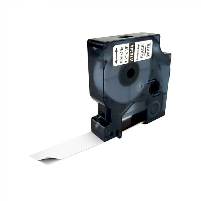 Etichete industriale autocolante compatibile vinil, 12mm x 5.5m, negru/alb, 18444 18444-C-big