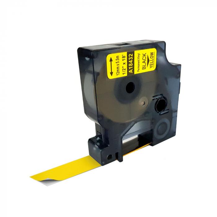 Etichete industriale autocolante compatibile vinil, 12mm x 5.5m, negru/galben, 18432 S0718580-C-big