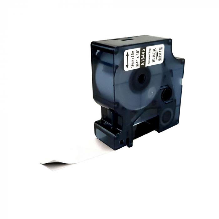 Etichete industriale autocolante compatibile vinil, 19mm x 5.5m, negru/alb, 18445 S0718620-C-big
