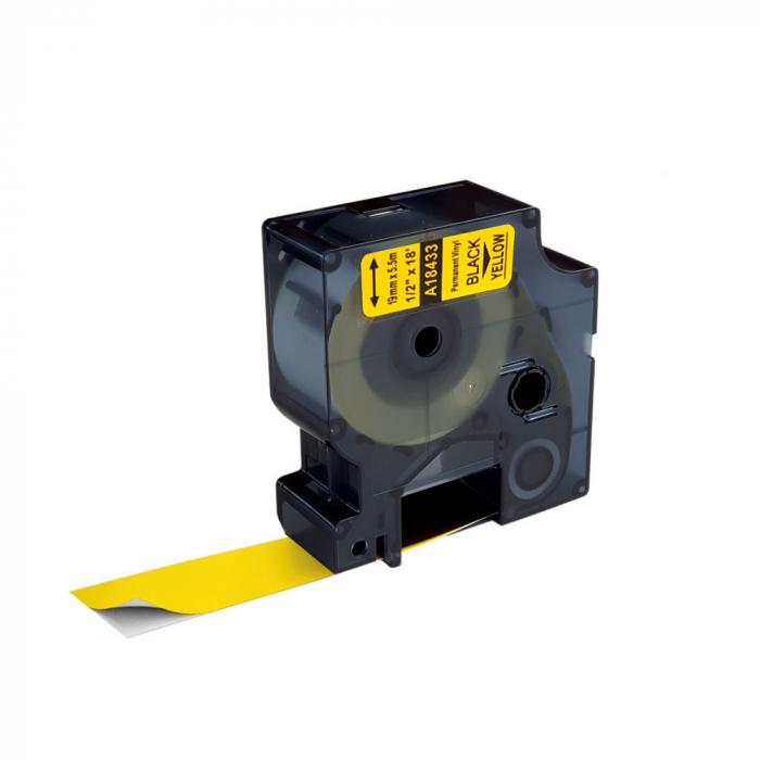 Etichete industriale autocolante compatibile vinil, 19mm x 5.5m, negru/galben, S0718470-C 18433-big