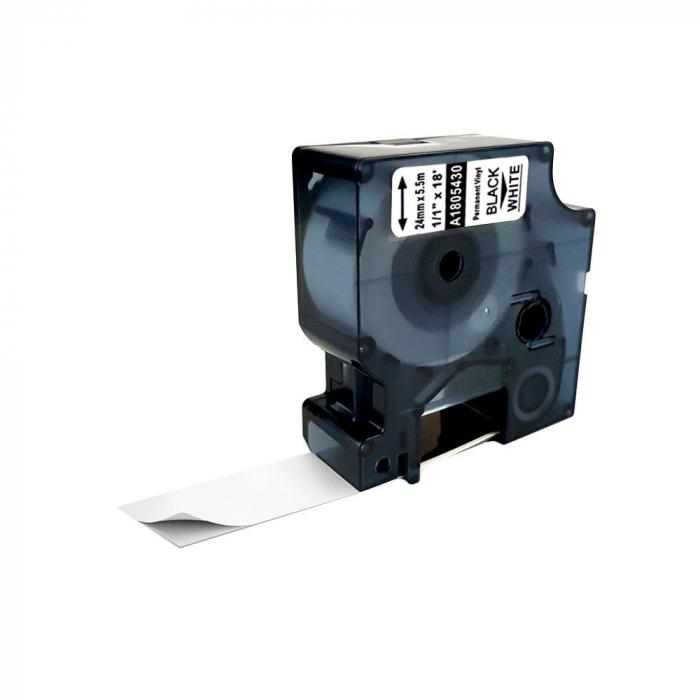 Etichete industriale autocolante compatibile vinil, 24mm x 5.5m, negru/alb, 1805430-big
