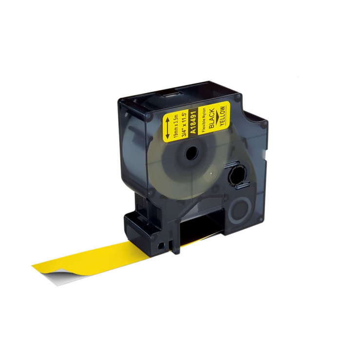 Etichete industriale autocolante compatibile vinil, 24mm x 5.5m, negru/galben, 1805431-big