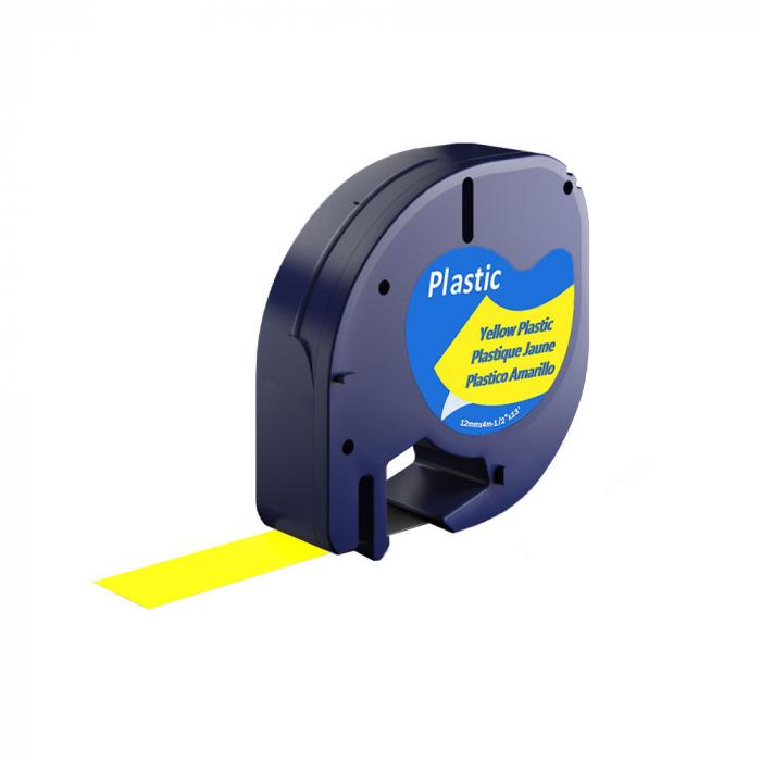 Etichete plastic autocolante compatibile 12mmx4m, galben, 91202 S0721670-C-big