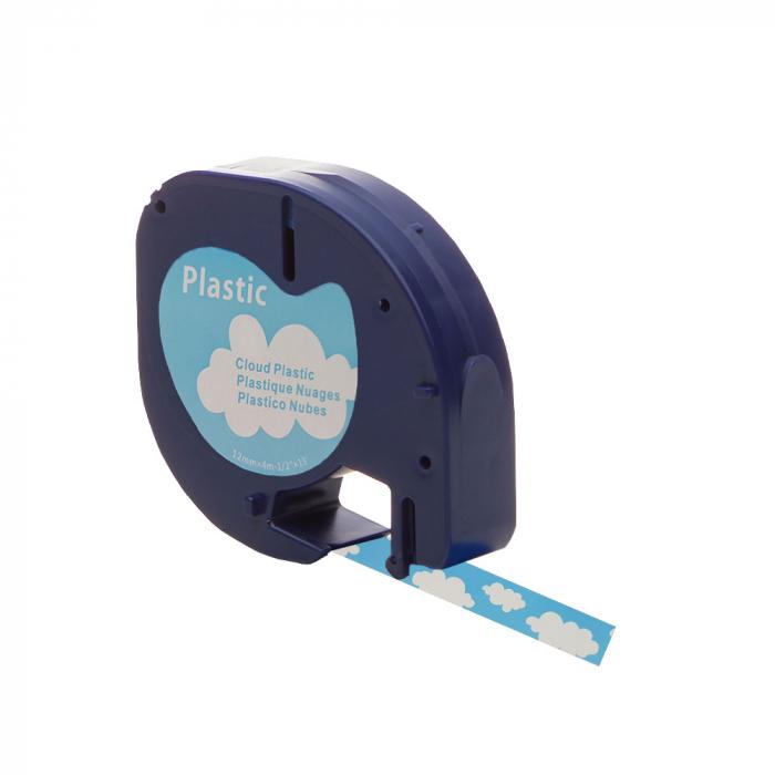 Etichete plastic autocolante compatibile 12mmx4m, nori, S0721610-C2-big
