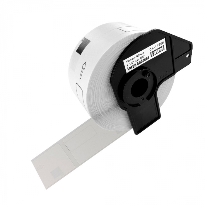 Etichete termice autocolante adresa mare, compatibile, Brother DK-11208, hartie alba, permanente, 38mmx90mm, 400 etichete/rola, suport din plastic inclus DK11208-C-big
