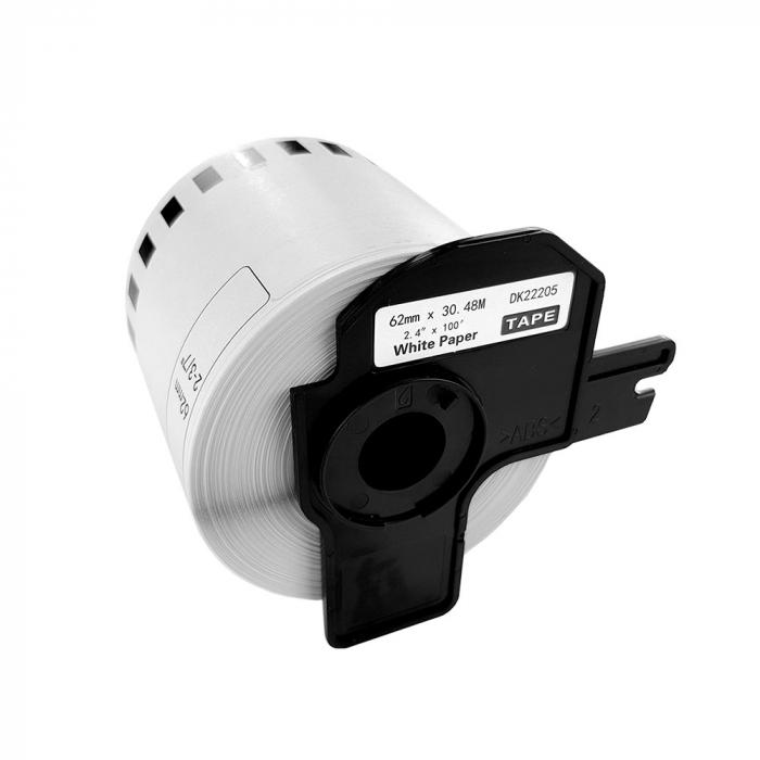 Etichete termice autocolante compatibile, Brother DK-22205, hartie alba, modul continuu, 62mmx30.48m, suport din plastic inclus. 3 role / set-big
