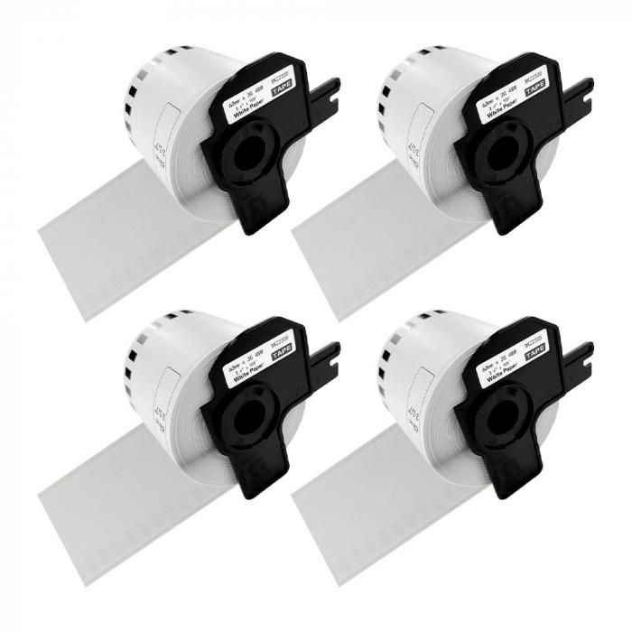 Etichete termice autocolante compatibile, Brother DK-22205, hartie alba, modul continuu, 62mmx30.48m, suport din plastic inclus. 4 role / set-big
