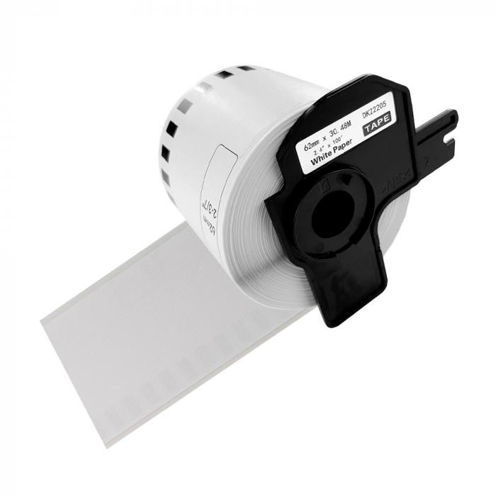Etichete termice autocolante compatibile, Brother DK-22205, hartie alba, modul continuu, 62mmx30.48m, suport din plastic inclus. 5 role / set-big