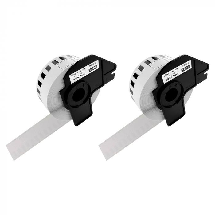 Etichete termice autocolante compatibile, Brother DK-22210, hartie alba, modul continuu, 29mmx30.48m, suport din plastic inclus. 2 role / set-big