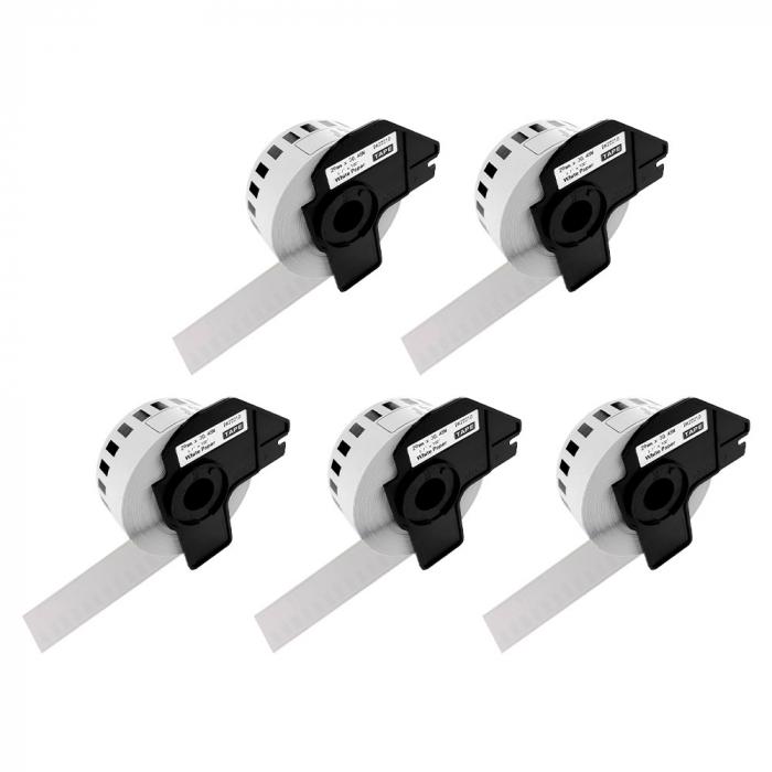Etichete termice autocolante compatibile, Brother DK-22210, hartie alba, modul continuu, 29mmx30.48m, suport din plastic inclus. 5 role / set-big