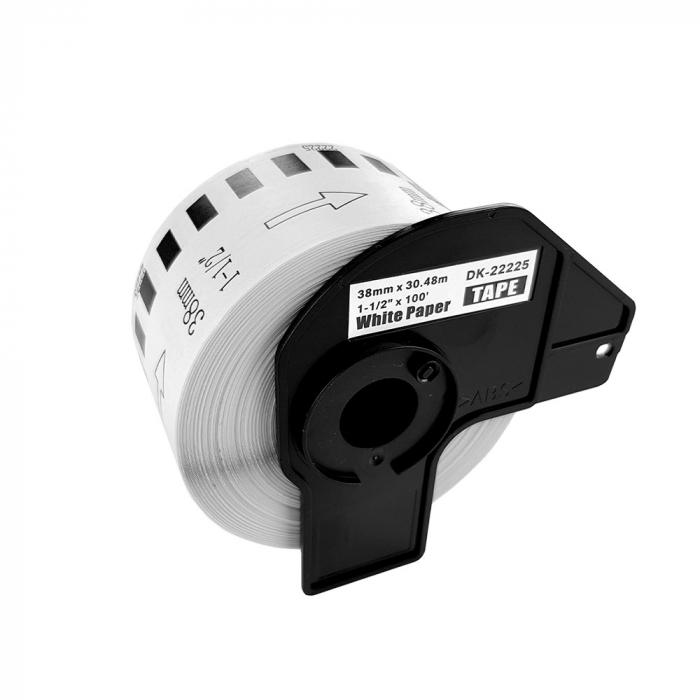 Etichete termice autocolante compatibile, Brother DK-22225, hartie alba, modul continuu, 38mmx30.48m, suport din plastic inclus DK22225, 2 role/set-big
