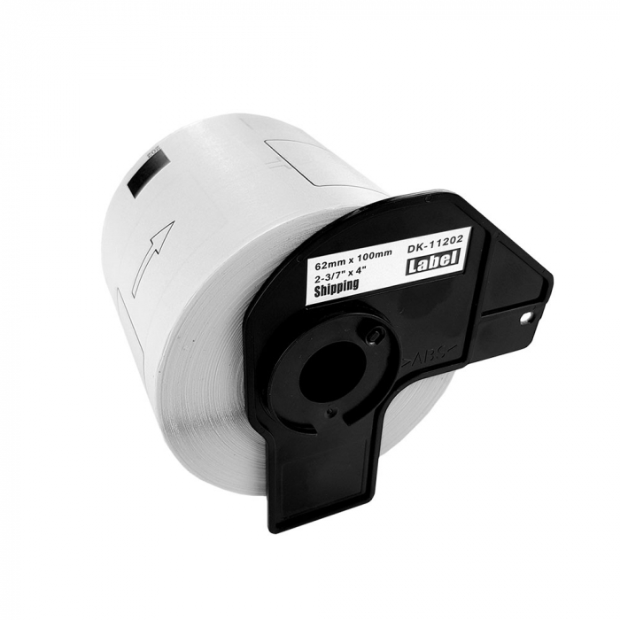Etichete termice autocolante de transport compatibile, Brother DK-11202, hartie alba, permanente, 62mmx100mm, 300 etichete/rola, suport din plastic inclus DK11202-C-big