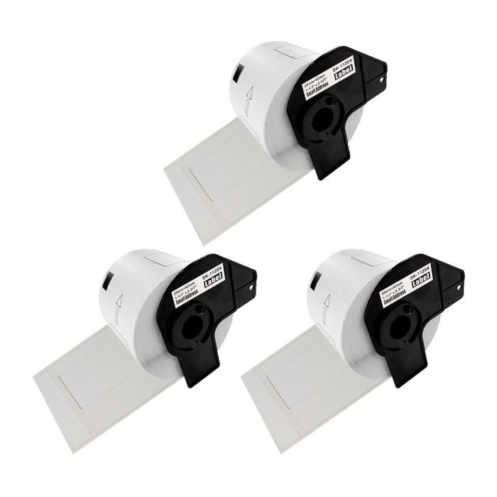 Etichete termice autocolante transport, compatibile, Brother DK-11209, hartie alba, permanente, 29mmx62mm, 800 etichete/rola, suport din plastic inclus. 3 role / set-big