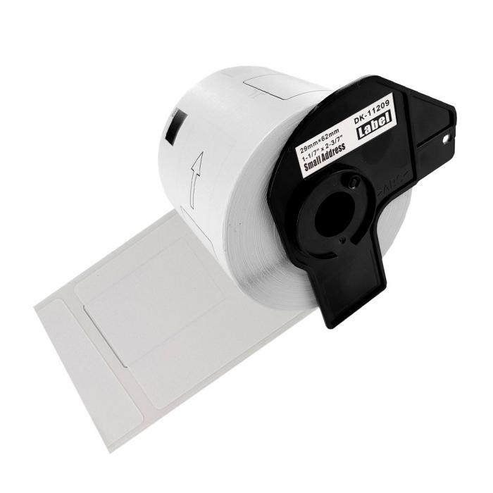 Etichete termice autocolante transport, compatibile, Brother DK-11209, hartie alba, permanente, 29mmx62mm, 800 etichete/rola, suport din plastic inclus. 4 role / set-big
