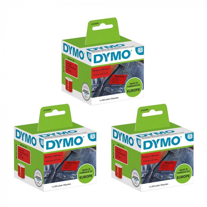 Set Etichete termice, DYMO LabelWriter, 54mmx101mm, hartie rosie, mesaje avertizare, adrese voiaj, permanente, 1 rola/cutie, 220 etichete/rola, 2133399, 99014-big