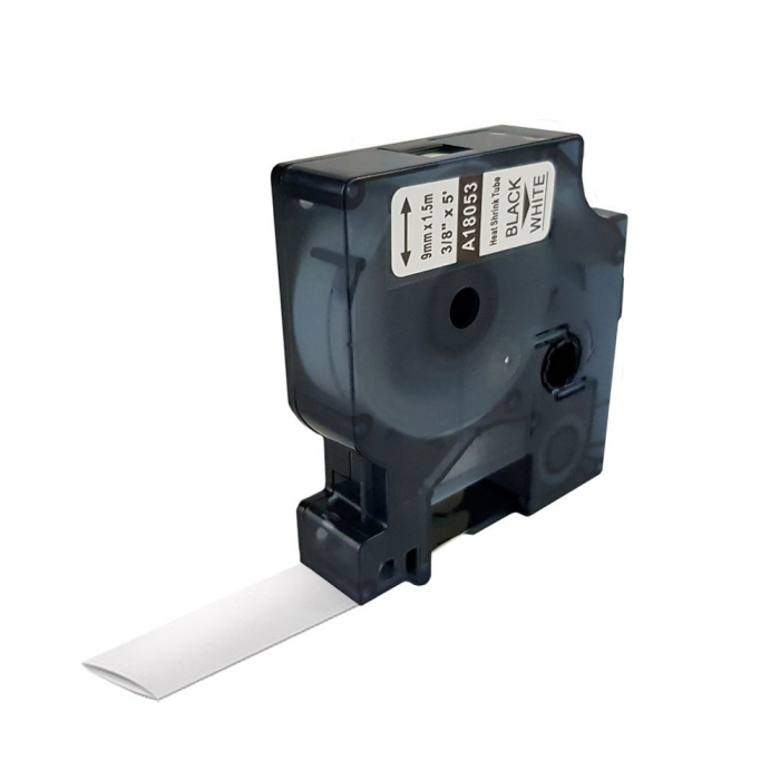 Etichete tub termocontractibil compatibil 9mm x 1.5m, negru/alb, 18053 S0718280-C-big