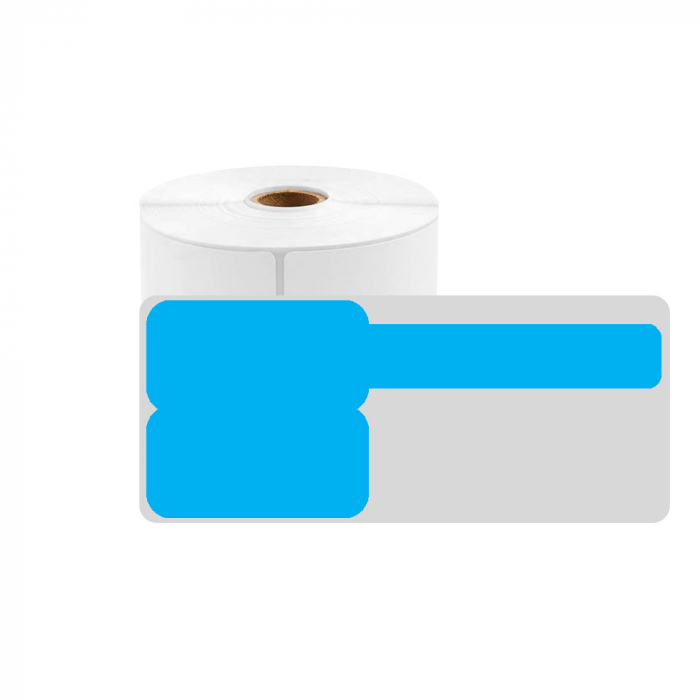 F-label tags for cables 25 x 30mm + 40mm blue, polypropilene, for printers M110/M200, 100 pcs/roll-big