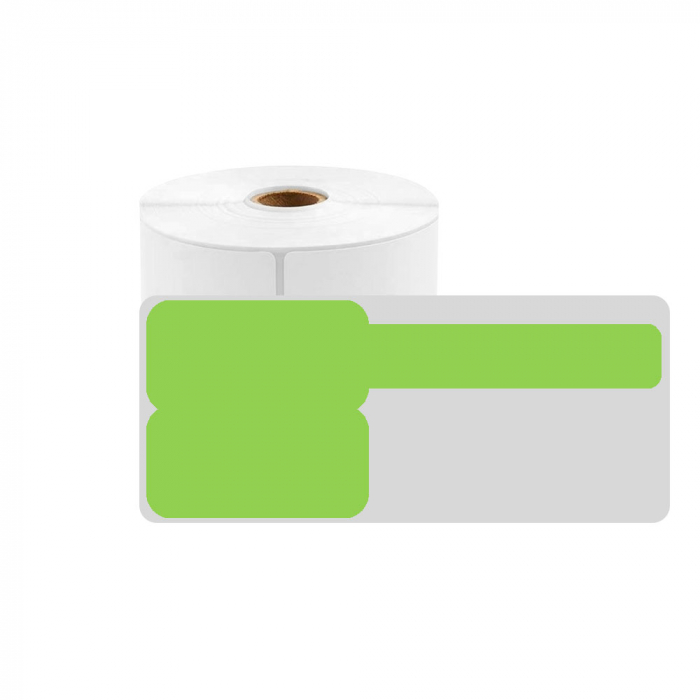 F-label tags for cables 30 x 45mm + 50mm green, polypropylene, for printers M110/M200, 80 pcs/roll-big