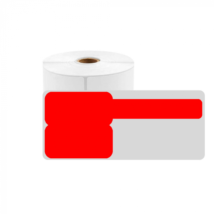 F-label tags for cables 25 x 30mm + 40mm red, polypropilene, for printers M110/M200, 100 pcs/roll-big