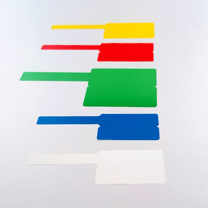 F-label tags for cables 30 x 45mm + 50mm, white plastic, for printers M110/M200, 80 pcs/roll-big