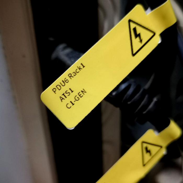 Etichete stegulet F pentru cabluri 25 x 30mm + 40mm galben, polipropilena, pentru imprimanta M110/M200, 100 buc/rola-big