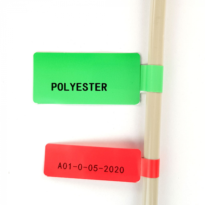 F-label tags for cables 25 x 38mm + 40mm red, polypropilene, for printers M110/M200, 100 pcs/roll-big