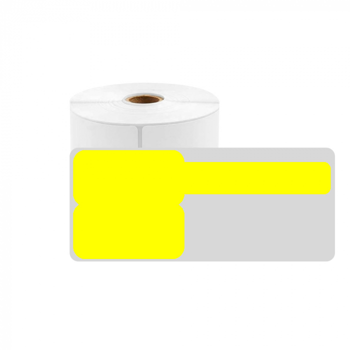 Big F-label tags for cables 48 x 50mm + 52mm yellow, polypropylene, for printers M110/M200, 80 pcs/roll-big