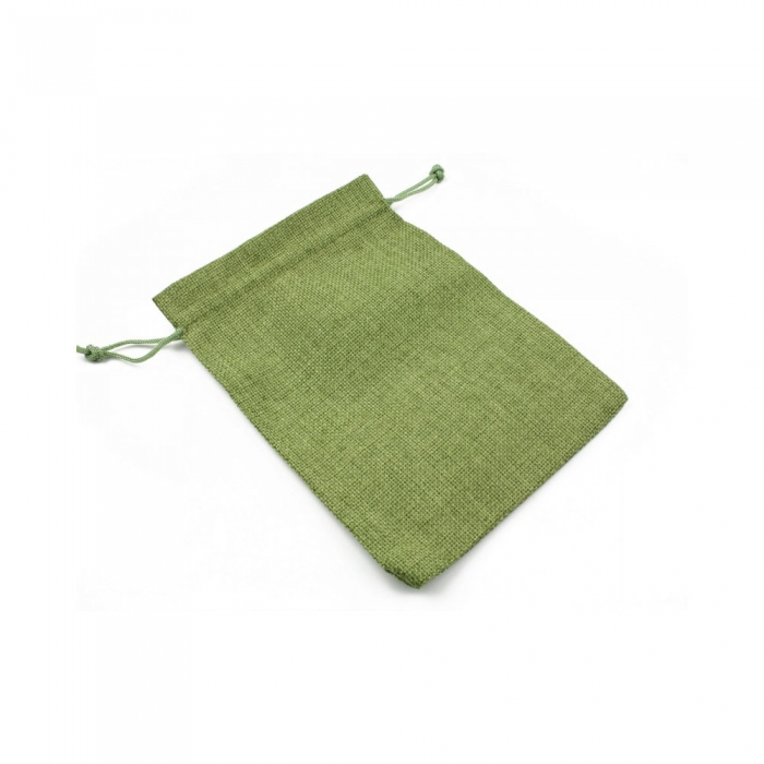 Saculet textil pentru cadouri cu snur, verde, 12.5 x 18 cm-big