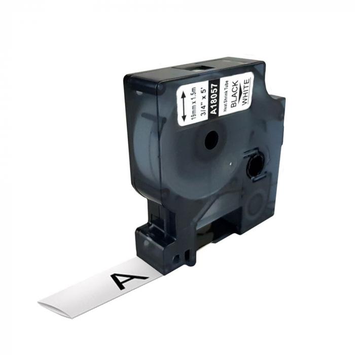 Etichete tub termocontractibil compatibile, DYMO ID1, 19mm x 1.5m, negru/alb, 18057-big