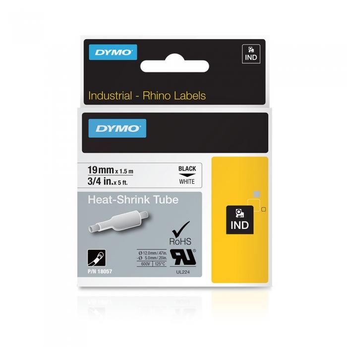 Etichete tub termocontractibil, DYMO ID1, 19mm x 1.5m, negru/alb, 18057, S0718330 DY18057-big
