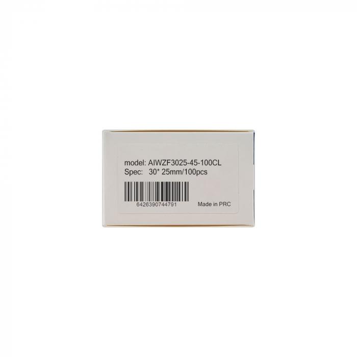 Etichete termice bijuterii 25 x 30mm + 45mm preimprimate nori bleu, suport plastic alb, pentru imprimanta M110/M200, 100 buc/rola-big