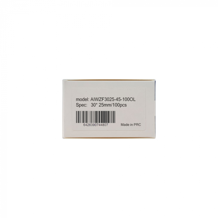 Etichete termice bijuterii 30 x 25mm + 45mm preimprimate model crengute maslin, suport plastic alb, pentru imprimanta M110/M200, 100 buc/rola-big