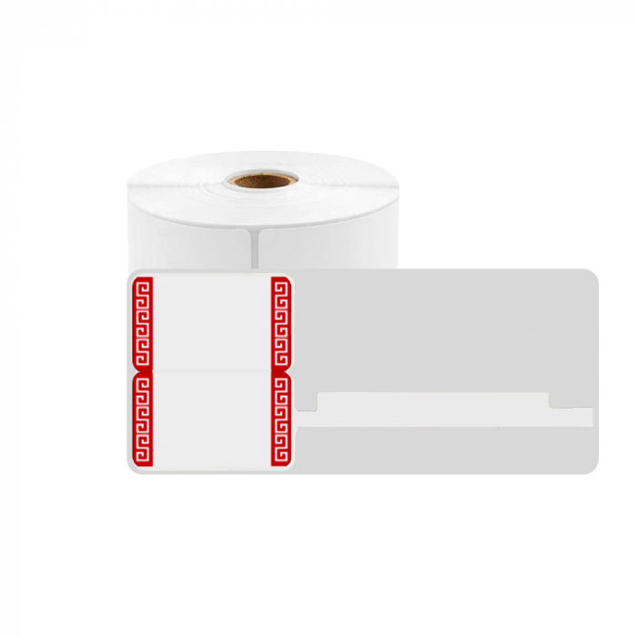Jewelry thermal labels 30 x 25mm + 45mm preprinted red edges, white plastic, for printer M110/M200, 100 pcs/roll-big