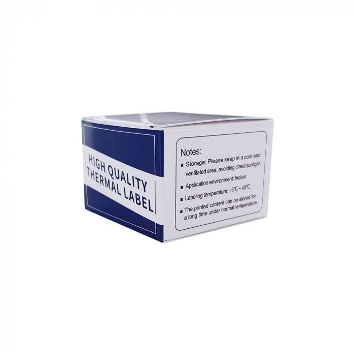 Etichete termice bijuterii 30 x 25mm + 45mm suport plastic alb, pentru imprimanta M110/M200, 100 buc/rola-big