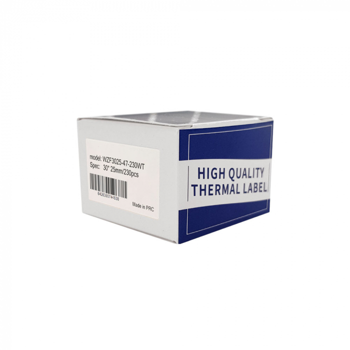 Etichete termice bijuterii 30 x 25mm + 47mm, plastic alb, doar pentru imprimanta M200, 230 buc/rola-big