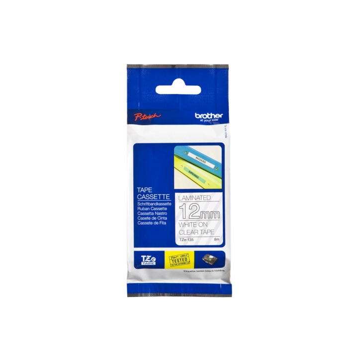 Laminated Brother Tape TZE135, 12 mm x 8 m, White on Transparent-big