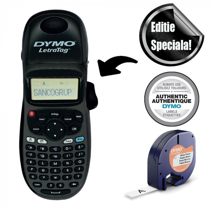 Etichetator Dymo LetraTag LT-100H Plus Black Edition, tastatura ABC, include 1 banda etichete Letratag hartie alba 2125197-big