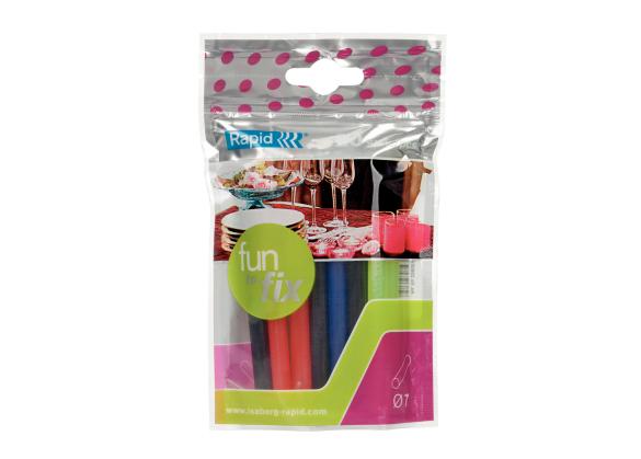 Batoane lipici Rapid Fun to Fix  cu diametrul de 7mm x 100mm, diferite culori, 100g, 20 buc/ pachet-big