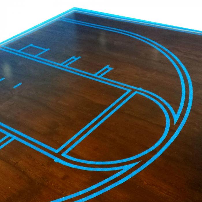 Banda marcare/protectie 3M 764i vinil albastru, 50mm x 33m, marcare terenuri sport indoor, 70006299807-big