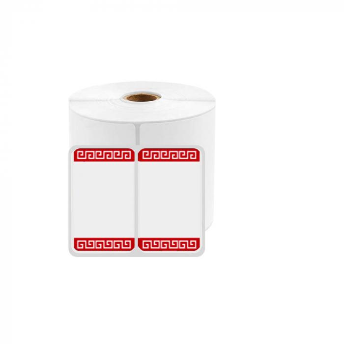 Etichete termice universale duble 25 x 30mm model margini rosii, permanente, 1 rola, 230 etichete/rola, pentru imprimanta M110 si M200-big
