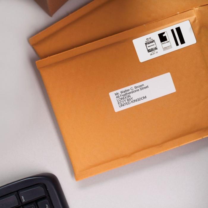 Etichete termice biblioraft 20 x 100 mm, plastic alb, permanente, 1 rola, 160 etichete/rola, pentru imprimanta M110 si M200-big