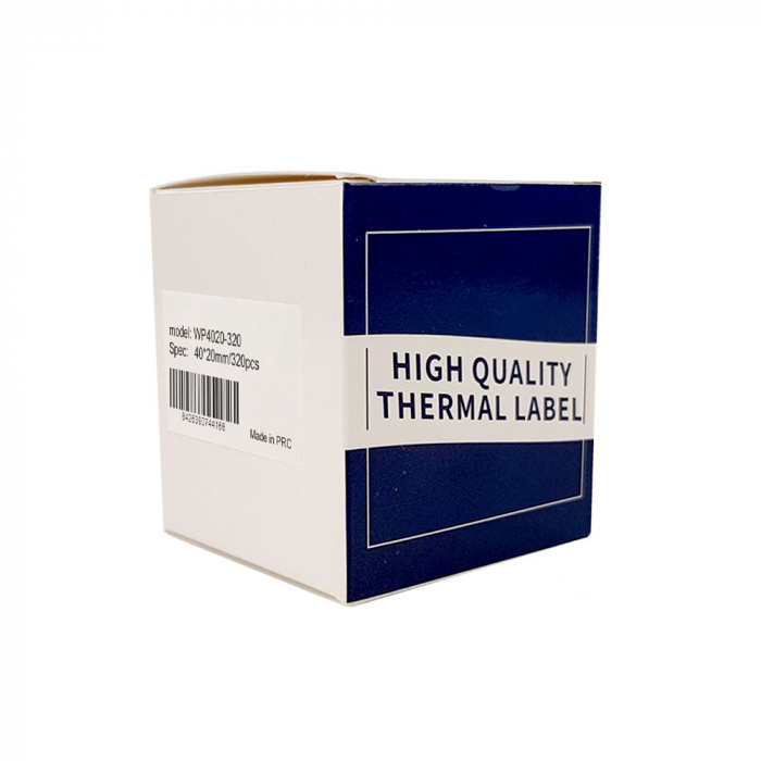 Etichete termice universale 40 x 20mm, plastic alb, permanente, 1 rola, 320 etichete/rola, pentru imprimanta M110 si M200-big